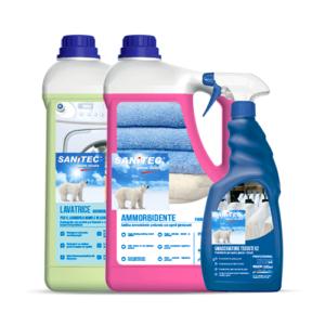 Komplet detergentov, mehčalca in odstranjevalca madežev