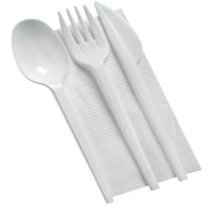 plastični pribor žlica vilica nož serviet